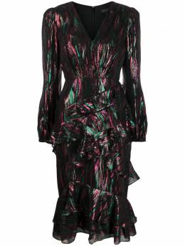 Saloni платье с оборками и эффектом металлик 10294792
