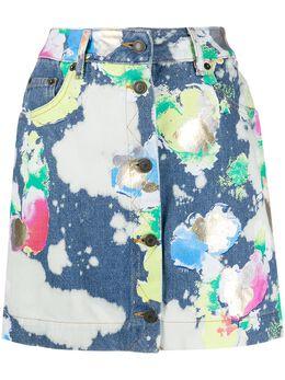 Moschino джинсовая мини-юбка с эффектом разбрызганной краски A01060520