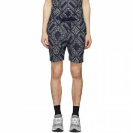 Officine Generale Navy and White Bandana Phil Shorts S20MSHT806