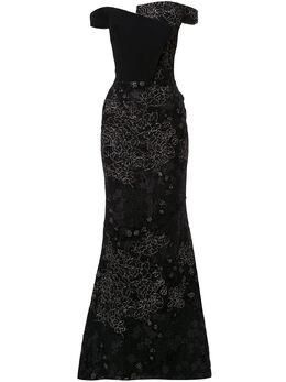 Saiid Kobeisy платье с открытыми плечами и цветочным принтом RSRT2028