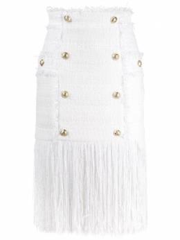 Balmain юбка с бахромой TF14048X327