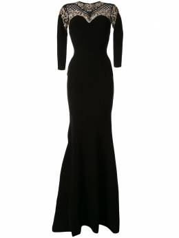 Saiid Kobeisy приталенное длинное платье с вышивкой RSRT2050