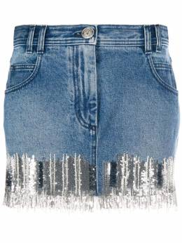 Balmain джинсовая юбка с пайетками TF14016D010