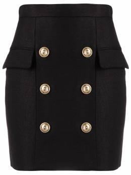 Balmain юбка мини с декоративными пуговицами TF14004V090