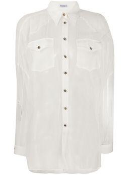 Brunello Cucinelli полупрозрачная рубашка MF940NV706C600