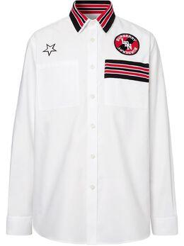 Burberry рубашка оксфорд с аппликацией 8023798