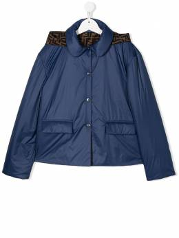 Fendi Kids куртка-пуховик с узором FF на капюшоне JFA094A4RT