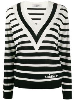 Valentino джемпер в полоску с V-образным вырезом TB3KC10X57T