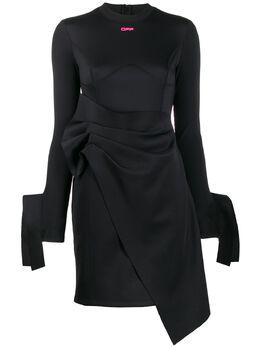 Off-White короткое платье из джерси с запахом OWDB211R20F850871028