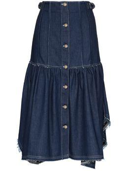 Chloe джинсовая юбка с оборками и бахромой CHC20SDJ01158