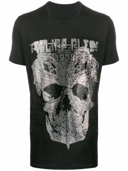 Philipp Plein футболка с круглым вырезом и декором Skull S20CMTK4325PJY002N