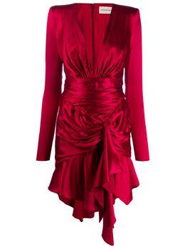 Alexandre Vauthier атласное платье с драпировкой 201DR1216