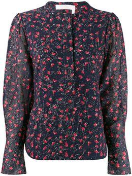 Chloe блузка с цветочным принтом и бусинами CHC19WHT35482