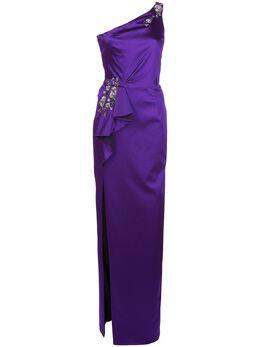 Marchesa Notte декорированное вечернее платье на одно плечо N36G1132