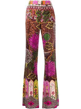 Valentino брюки с завышенной талией и цветочным принтом TB3RB3M0583