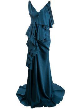Solace London ярусное вечернее платье с драпировкой OS25082