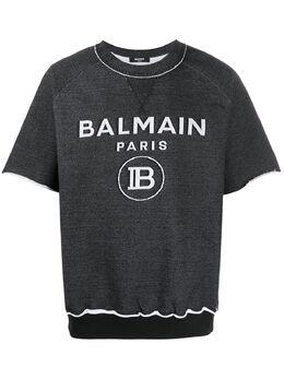 Balmain толстовка с короткими рукавами и логотипом TH11254I238