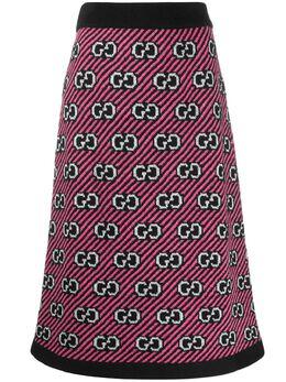 Gucci трикотажная юбка миди с узором GG 574224XKASE
