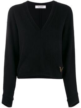 Valentino джемпер с V-образным вырезом и логотипом TB3KC09Z53Q