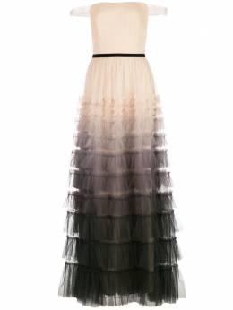 Marchesa Notte ярусное платье с эффектом омбре N37G1141