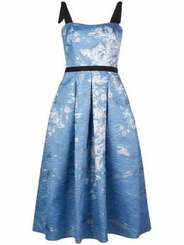 Marchesa Notte платье с цветочным принтом и складками N36M1165