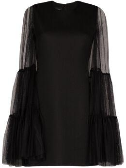 Giambattista Valli платье мини из тюля с оборками и длинными рукавами 20SSRVCI559027PTU