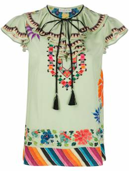 Etro блузка с воротником на завязке и принтом 136269559