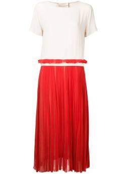 Erika Cavallini платье с контрастной плиссированной юбкой P7EL02