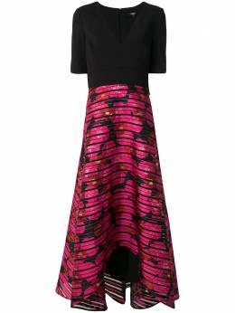 Badgley Mischka расклешенное платье миди с вышивкой EG2861