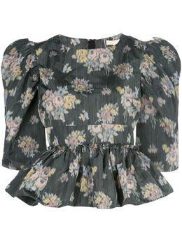 Brock Collection блузка с баской и цветочным принтом BRPQ601400