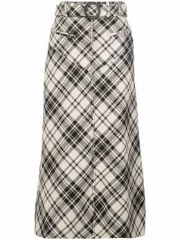 Ellery клетчатая юбка А-силуэта с поясом 40056821143