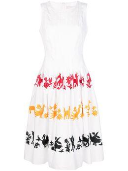 Carolina Herrera платье А-силуэта без рукавов с вышивкой R2011E519SC