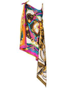 Versace платье асимметричного кроя с принтом Baroque и шарфом A85628A233263