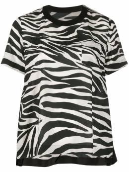 Sacai футболка свободного кроя с зебровым принтом 2004916