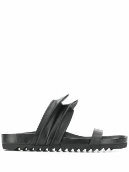 Rick Owens шлепанцы с декорированными ремешками RP20S1825LGE