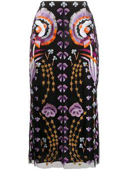 Temperley London юбка миди Effie с вышивкой 20SEFI53482