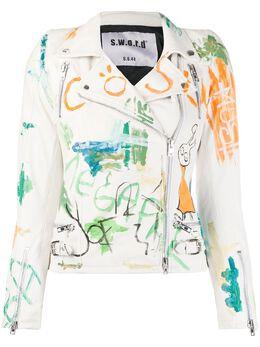S.w.o.r.d 6.6.44 байкерская куртка с эффектом граффити SE202022