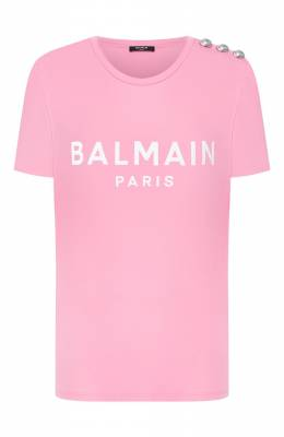 Хлопковая футболка Balmain TF01350/I415