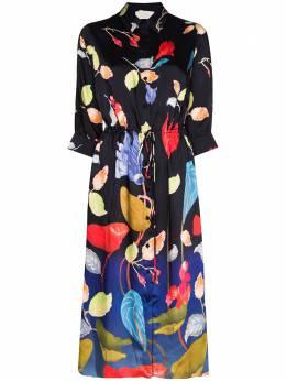 Peter Pilotto платье-рубашка длины миди с цветочным принтом 20PSDR221011BLK