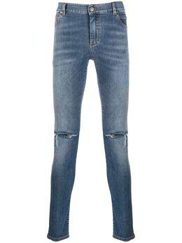 Balmain джинсы скинни с эффектом потертости TH05618Z005