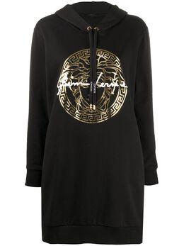 Versace платье-худи с логотипом GV A85855A231242