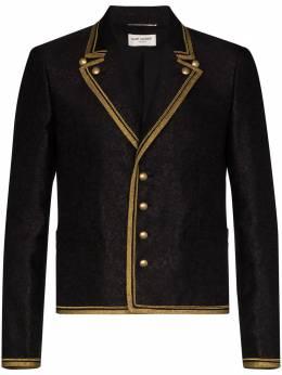 Saint Laurent пиджак в стиле милитари с контрастной окантовкой 597960Y1A05