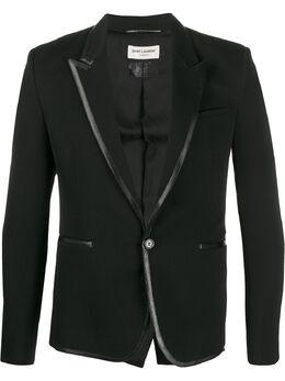 Saint Laurent пиджак с контрастной отделкой 604962Y1A41