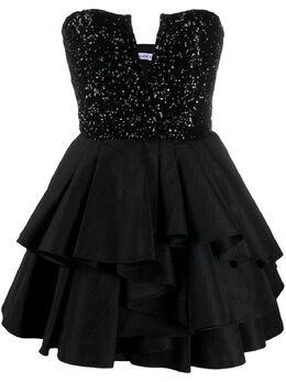 Amen короткое платье с оборками AMS20401