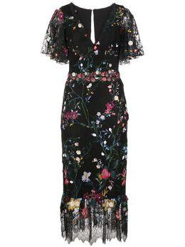 Marchesa Notte платье миди из тюля с цветочной вышивкой N36C1145