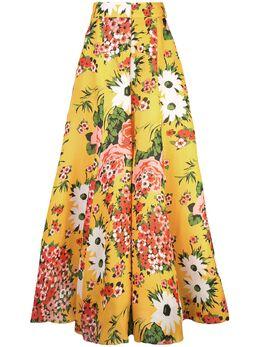 Carolina Herrera расклешенные брюки с цветочным принтом S1911N405GPG