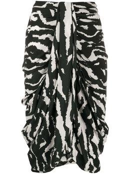 Isabel Marant юбка Fetina с зебровым принтом и драпировкой JU112020P020I