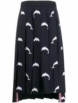 Thom Browne плиссированная юбка с вышивкой FGC400E04644
