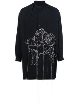Yohji Yamamoto рубашка с воротником-стойкой и вышивкой HNB31517