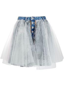 Unravel Project джинсовая юбка со вставками UWYF015R20DEN0014555